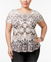 Style&Co. Style & Co Plus Size Sublimated-Print T-Shirt, Created for Macy's