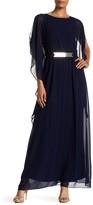Sangria Draped Sleeveless Waist Belt Dress