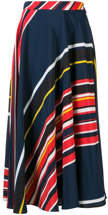 MSGM striped flared skirt