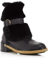 Salvatore Ferragamo Furio Leather and Shearling Booties