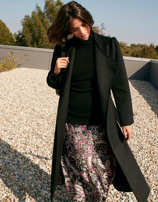 Monsoon Paisley Print Satin Midi Skirt Black