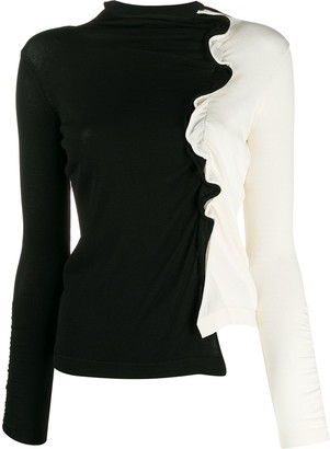 Pinko Funnel Neck Ruffled Trim Sweater
