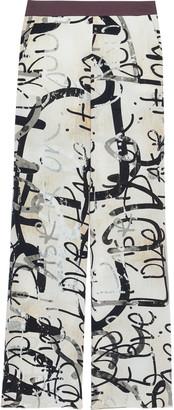 Max Mara Starlet Printed Silk Crepe De Chine Wide-leg Pants