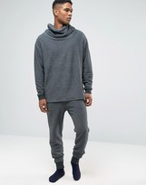 Asos Loungewear Skinny Textured Joggers In Washed Black