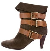 Rebecca Minkoff Suede Buckle-Accented Ankle Boots