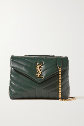 Saint Laurent Loulou Small Quilted Leather Shoulder Bag - Dark green