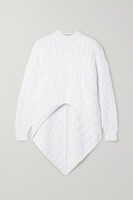 Alexander Wang Asymmetric Cable-knit Cotton-blend Sweater - White