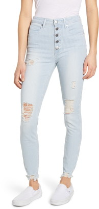 PTCL Ripped High Waist Button Fly Ankle Skinny Jeans
