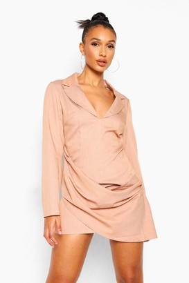 boohoo Woven Marl Draped Detail Blazer Dress