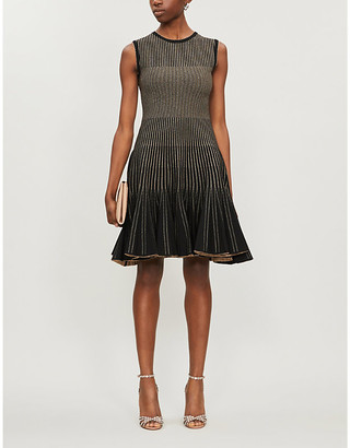 Oscar de la Renta Striped flared-hem crepe mini dress