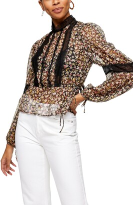 Topshop Lace Inset Floral Top