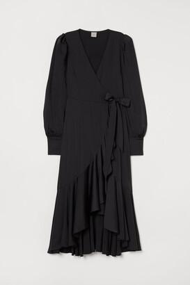 H&M Satin Wrap-front Dress - Black