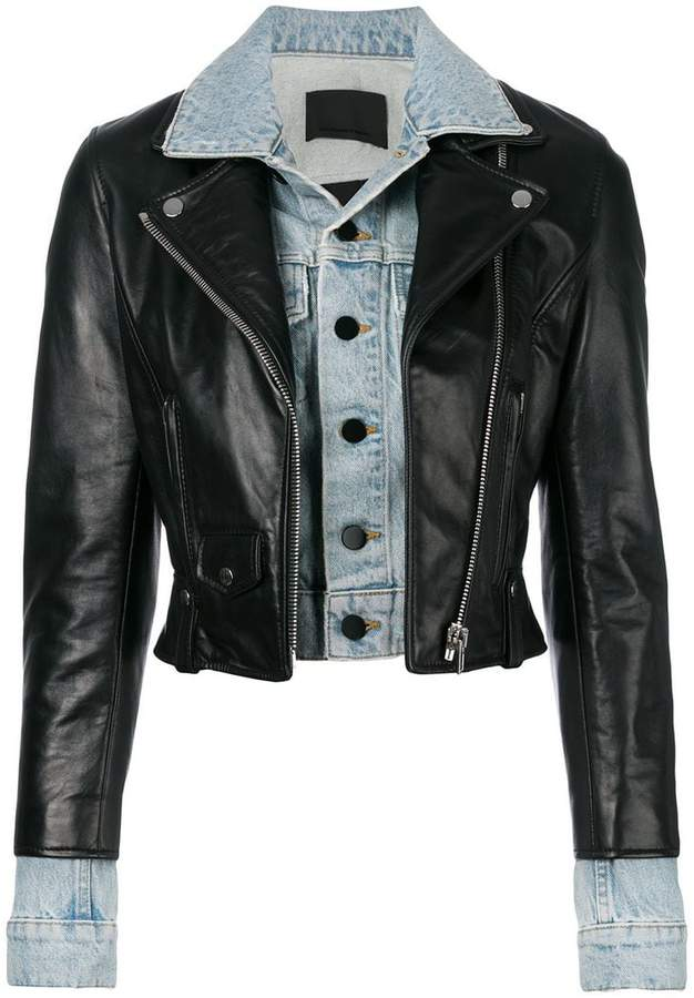 Alexander Wang leather and denim hybrid jacket