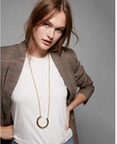 Express tortoiseshell crescent pendant necklace