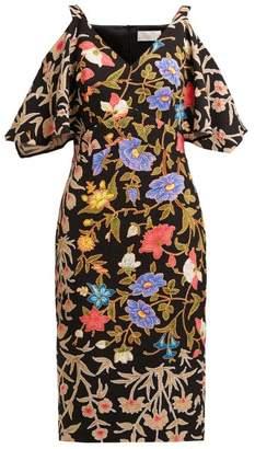 Peter Pilotto Floral And Foliage-print Crepe Midi Dress - Womens - Black Multi