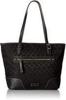 Nine West Women's 9 Jacquard Top Handle Tote Bag, Black/Black/Black