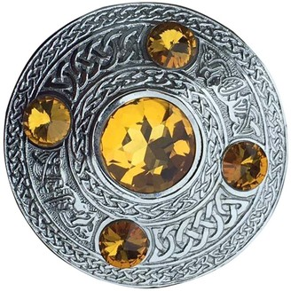 Ajw Celtic Thistle Stone Antique Chrome Plaid Brooch Different Design (Yellow)