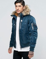 Schott Nylon Hooded Bomber Detatchable Faux Fur Trim