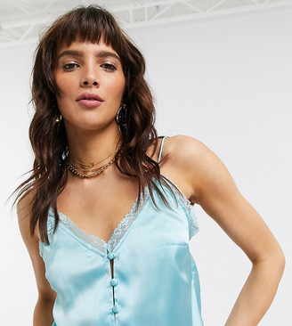 Reclaimed Vintage inspired satin cami with button front in blue