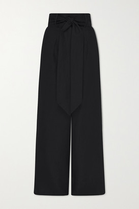 BONDI BORN Net Sustain Belted Linen-twill Wide-leg Pants - Black