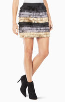 BCBGMAXAZRIA Christal Metallic Fringe Skirt