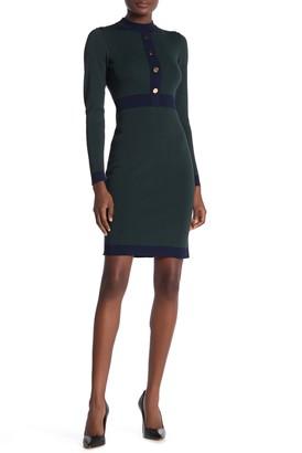 Alexia Admor Quinn Colorblock Button Sweater Dress