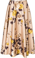 Rochas pleated detail floral skirt - women - Polyester/Cupro - 40