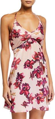 Violet & Wren Ladder-Trim Floral-Print Silk Slip