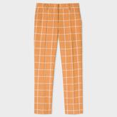 Paul Smith Women's Slim-Fit Tan Windowpane Check Wool-Linen Trousers