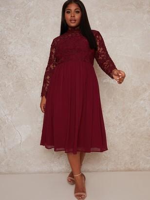 Chi Chi London Curve Ella Louise Dress - Red