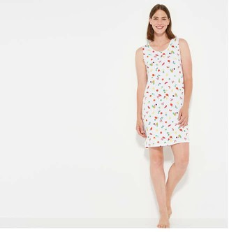 Joe Fresh Women's Print Tank Chemise, White (Size S)