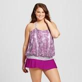 VM Women's Plus Size Paisley Blouson Tankini Top Purple Orchid