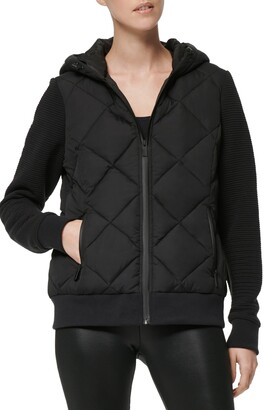 Andrew Marc Hooded Jacket with Knit Sleeves