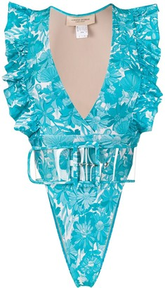 Adriana Degreas V-neck ruffled trim swimsuit