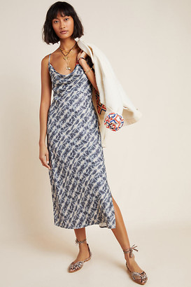 Anthropologie Printed Bias Slip Dress By in Blue Size XL