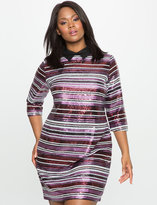 ELOQUII Plus Size Sequin Stripe Dress with Collar