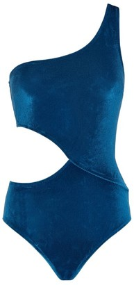 Solid & Striped Claudia One-Shoulder Velvet Swimsuit