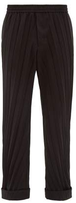 Valentino Turned Up Cuff Plisse Trousers - Mens - Black