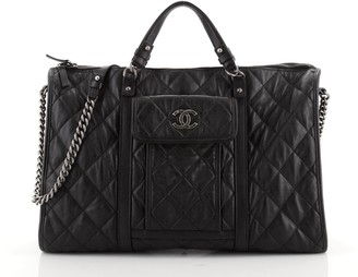 Chanel Casual Riviera Bowling Bag Quilted Calfskin Large