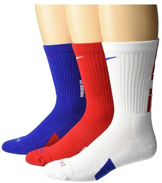 Nike Elite Crew Basketball Socks 3-Pair Pack (Multicolor 3) Crew Cut Socks Shoes