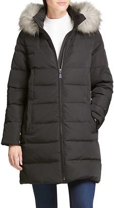 DKNY Faux Fur-Trim Down Puffer Coat