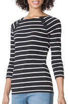 Chaps Petite Striped Lace-Up Tee
