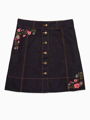 Kate Spade Broome Street Embroidered Denim Skirt