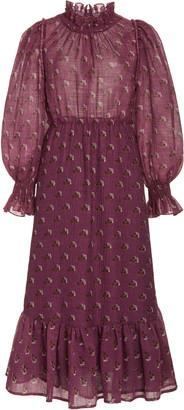 Sea Alexis Printed Ruffled Wool-Blend Maxi Dress