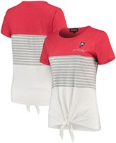 Unbranded Ohio State Buckeyes Why Knot Colorblocked Striped Knotted T-Shirt - Scarlet