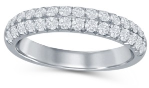 Macy's Diamond (5/8 ct. t.w.) French Pave Two Row Band in 14K White Gold