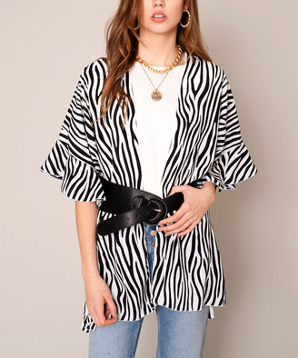 Avenue Zoe Women's Kimono Cardigans IVORY/BLACK - Ivory & Black Zebra Ruffle Kimono - Women