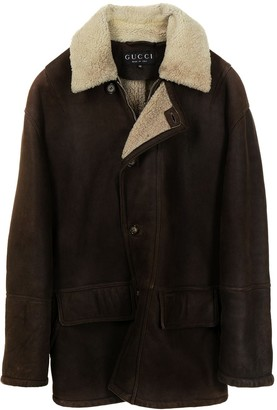 Gucci Pre-Owned Shearling Panelling Buttoned Coat