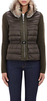 Moncler Women's Fur-Collar Puffer Cardigan-DARK GREEN