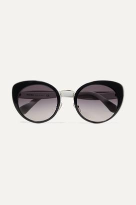 Miu Miu Cat-eye Two-tone Acetate And Gold-tone Sunglasses - Black